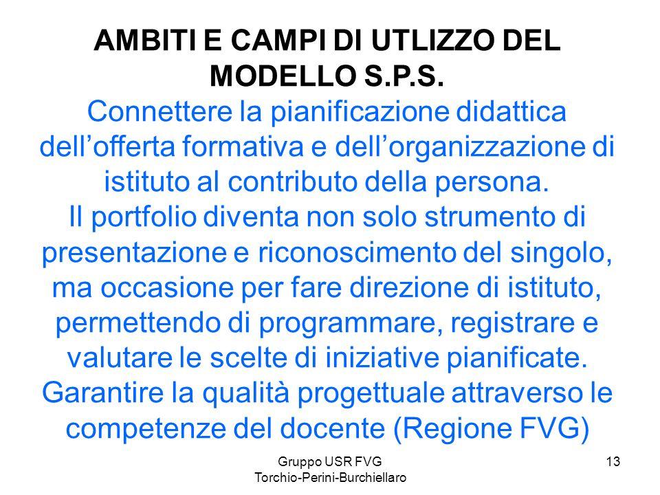 Gruppo USR FVG Torchio-Perini-Burchiellaro 13 AMBITI E CAMPI DI UTLIZZO DEL MODELLO S.P.S. Connettere la pianificazione didattica dellofferta formativ