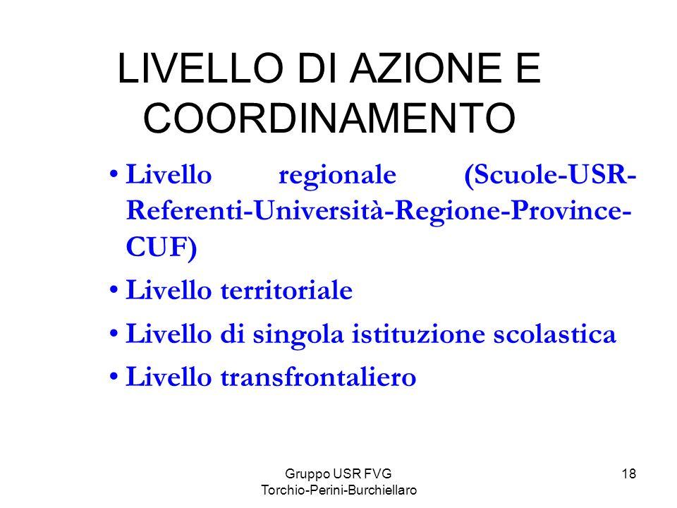 Gruppo USR FVG Torchio-Perini-Burchiellaro 18 LIVELLO DI AZIONE E COORDINAMENTO Livello regionale (Scuole-USR- Referenti-Università-Regione-Province-