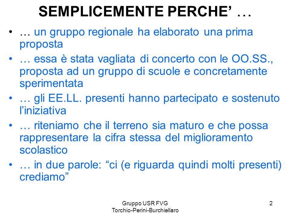 Gruppo USR FVG Torchio-Perini-Burchiellaro 2 SEMPLICEMENTE PERCHE … … un gruppo regionale ha elaborato una prima proposta … essa è stata vagliata di c