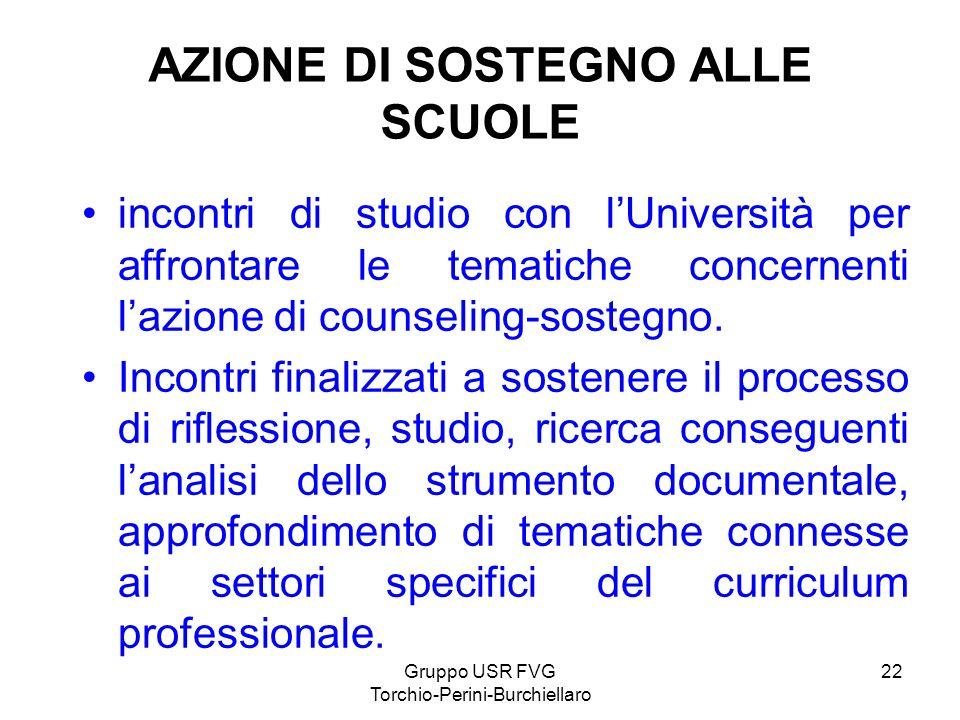 Gruppo USR FVG Torchio-Perini-Burchiellaro 22 AZIONE DI SOSTEGNO ALLE SCUOLE incontri di studio con lUniversità per affrontare le tematiche concernent