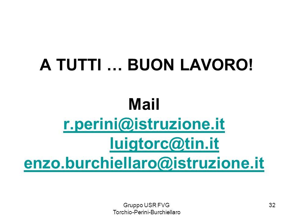 Gruppo USR FVG Torchio-Perini-Burchiellaro 32 A TUTTI … BUON LAVORO! Mail r.perini@istruzione.it luigtorc@tin.it enzo.burchiellaro@istruzione.it r.per