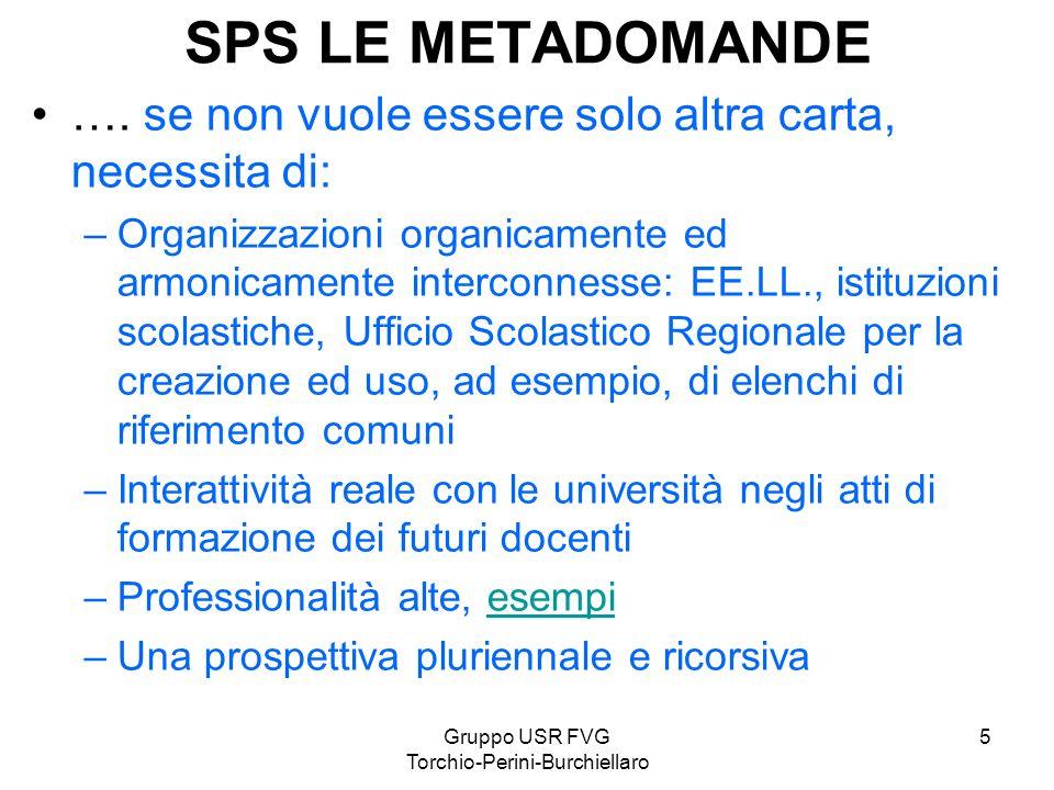 Gruppo USR FVG Torchio-Perini-Burchiellaro 5 SPS LE METADOMANDE …. se non vuole essere solo altra carta, necessita di: –Organizzazioni organicamente e