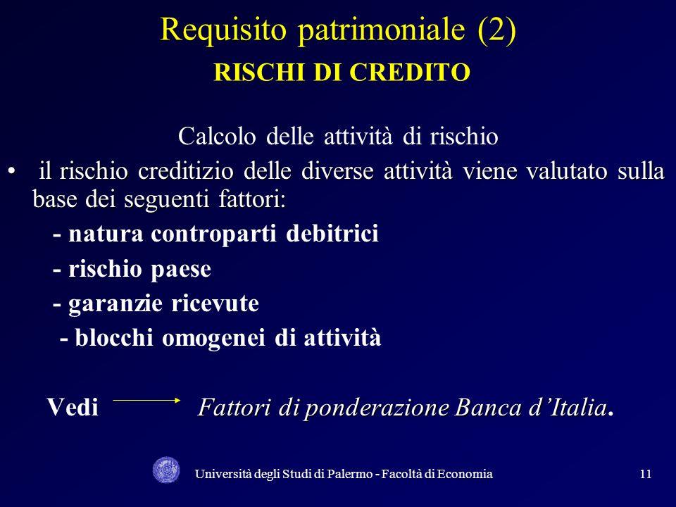 Università degli Studi di Palermo - Facoltà di Economia10 Requisito patrimoniale (1) RISCHI DI CREDITO FORMULA: 1. coeff. di solvibilità individuale: