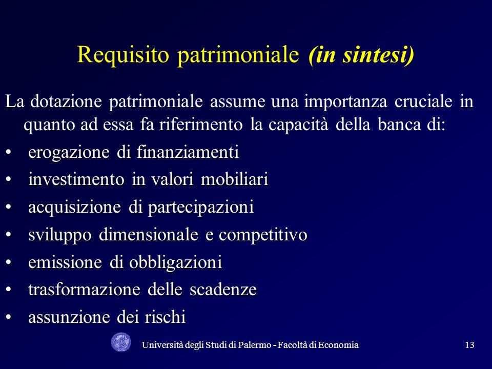 Università degli Studi di Palermo - Facoltà di Economia12 LACCORDO SUL CAPITALE DEL 1988 rischio di credito ha riguardato la valutazione del patrimoni