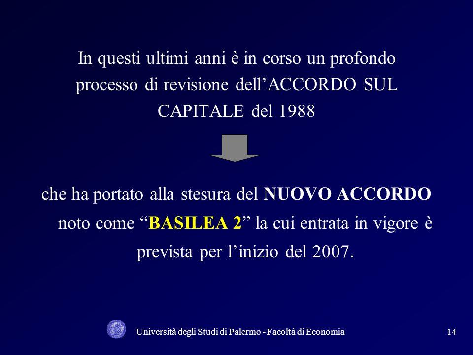 Università degli Studi di Palermo - Facoltà di Economia13 Requisito patrimoniale (in sintesi) La dotazione patrimoniale assume una importanza cruciale