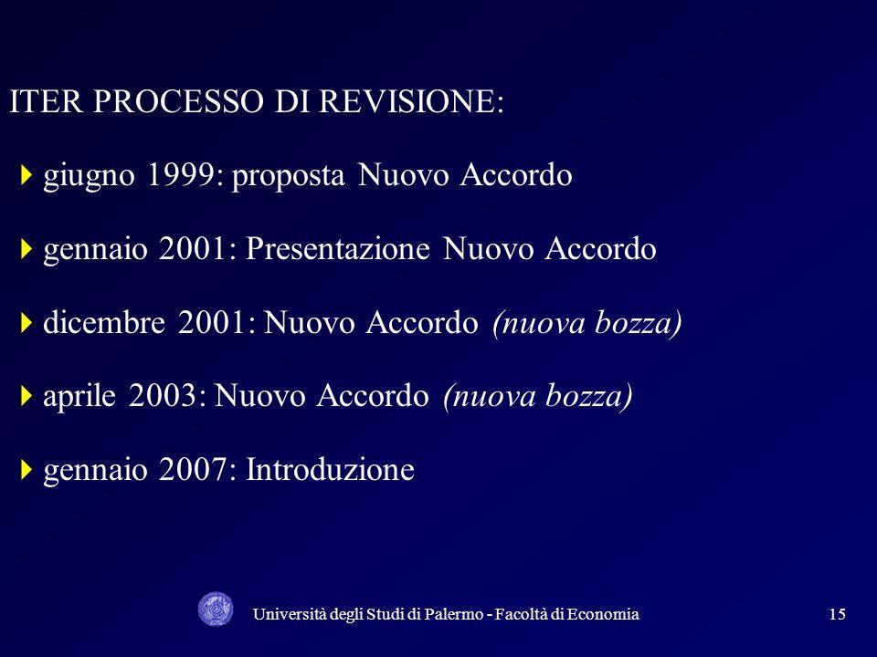 Università degli Studi di Palermo - Facoltà di Economia14 In questi ultimi anni è in corso un profondo processo di revisione dellACCORDO SUL CAPITALE