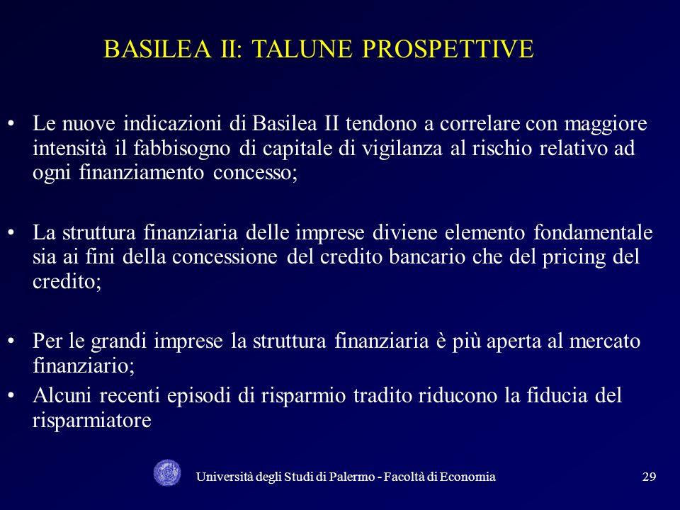 Università degli Studi di Palermo - Facoltà di Economia28 SINTESI DEI DATI: Si evidenzia che anche in questo caso la somma (BBB, BB e B) rappresenta i