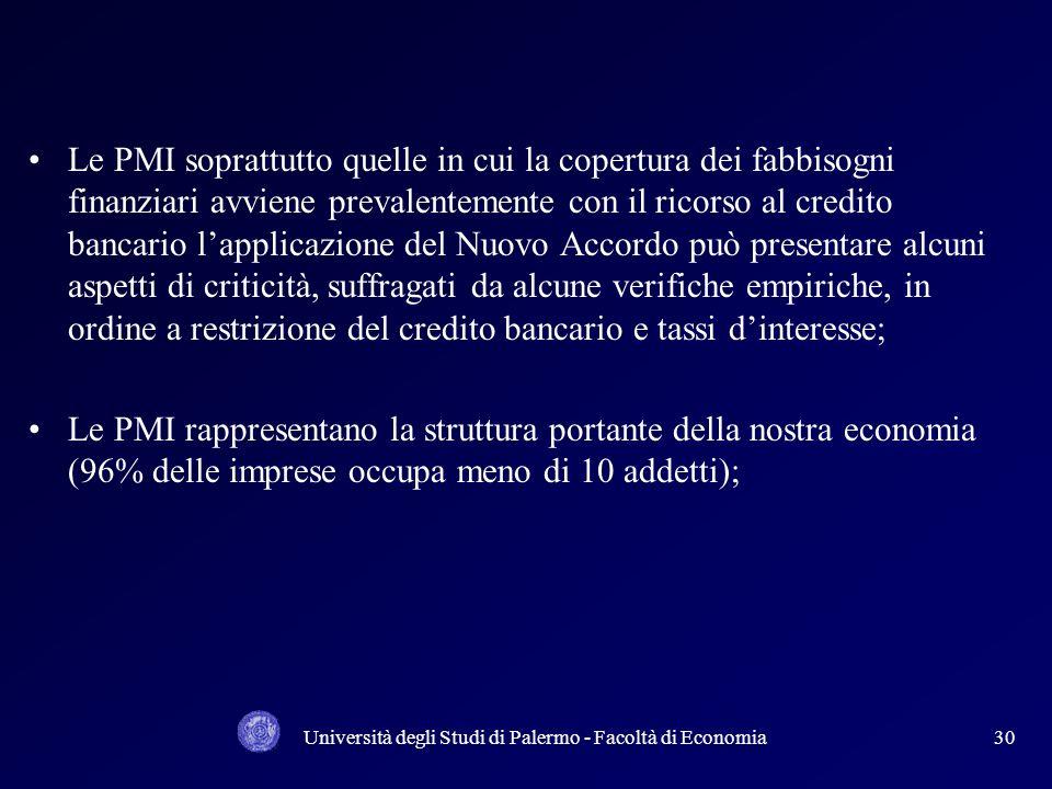 Università degli Studi di Palermo - Facoltà di Economia29 Le nuove indicazioni di Basilea II tendono a correlare con maggiore intensità il fabbisogno