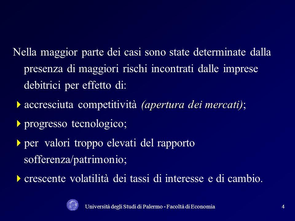 Università degli Studi di Palermo - Facoltà di Economia34 Proiezione in prospettiva del modello di hausbank tedesco in cui la banca non si limita ad erogare solo il credito ma anche, entro limiti disciplinati dalla vigilanza, finanza mobiliare; Basilea I richiede un requisito patrimoniale minimo uniforme per tutti i crediti concessi alle imprese ponderati per fattori di rischio; Le nuove regole di Basilea II determinano requisiti differenziati in funzione della PD (probabilità dinsolvenza);