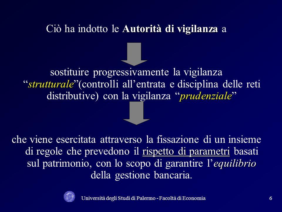 Università degli Studi di Palermo - Facoltà di Economia26 Da una esperienza di simulazione al portafoglio crediti di una Banca di credito cooperativo si ha la seguente rappresentazione: