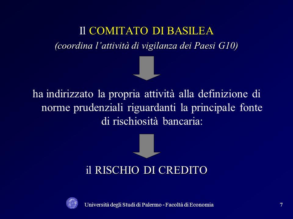 Università degli Studi di Palermo - Facoltà di Economia17 NUOVO ACCORDO SUL CAPITALE I 3 pilastri si rafforzano reciprocamente; I 3 pilastri si rafforzano reciprocamente; I 3 pilastri costituiscono un insieme unitario; I 3 pilastri costituiscono un insieme unitario; I 3 pilastri dovrebbero contribuire congiuntamente a una maggiore sicurezza e solidità del sistema finanziario.