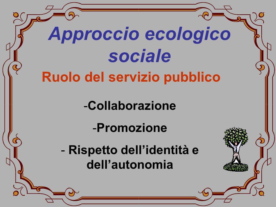 Approccio ecologico sociale -Collaborazione -Promozione - Rispetto dellidentità e dellautonomia Ruolo del servizio pubblico