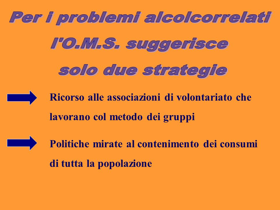 Ricorso alle associazioni di volontariato che lavorano col metodo dei gruppi Politiche mirate al contenimento dei consumi di tutta la popolazione