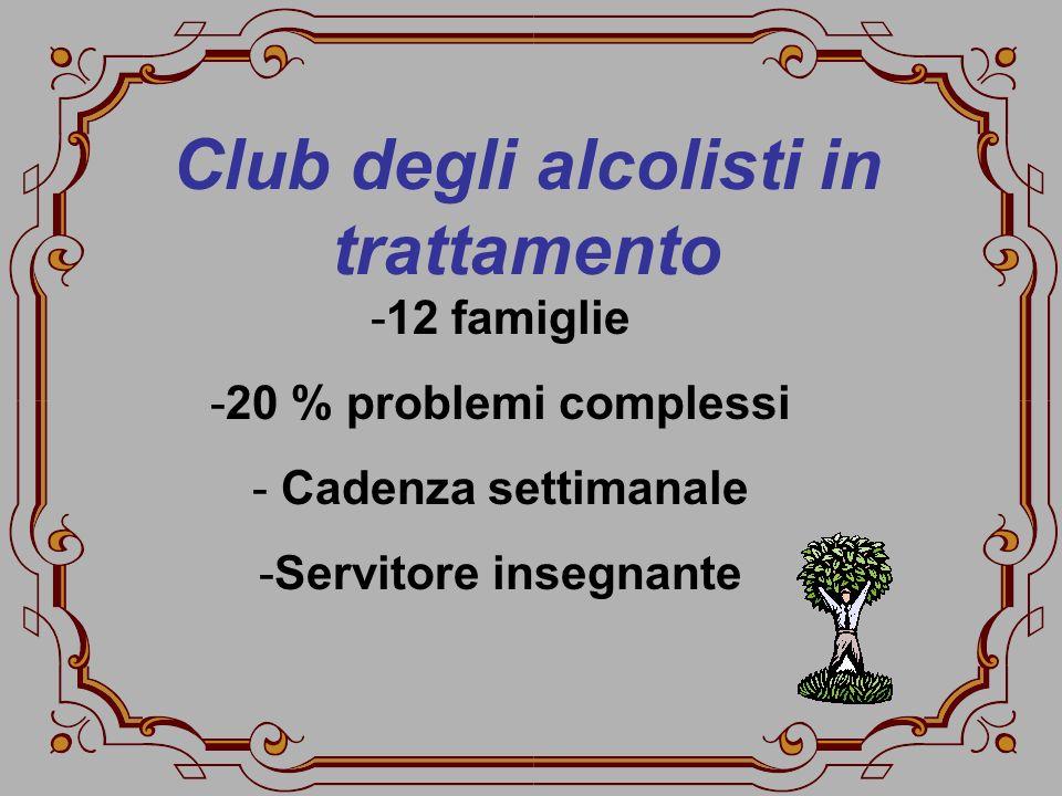 Club degli alcolisti in trattamento -12 famiglie -20 % problemi complessi - Cadenza settimanale -Servitore insegnante