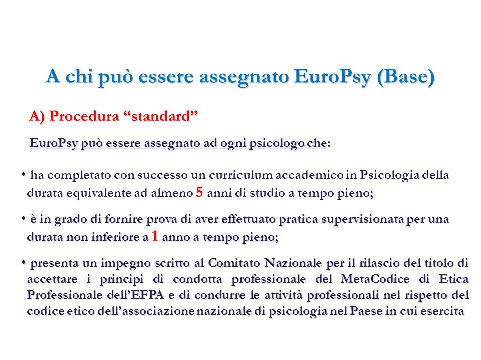 A chi può essere assegnato EuroPsy (Base) presenta un impegno scritto al Comitato Nazionale per il rilascio del titolo di accettare i principi di cond