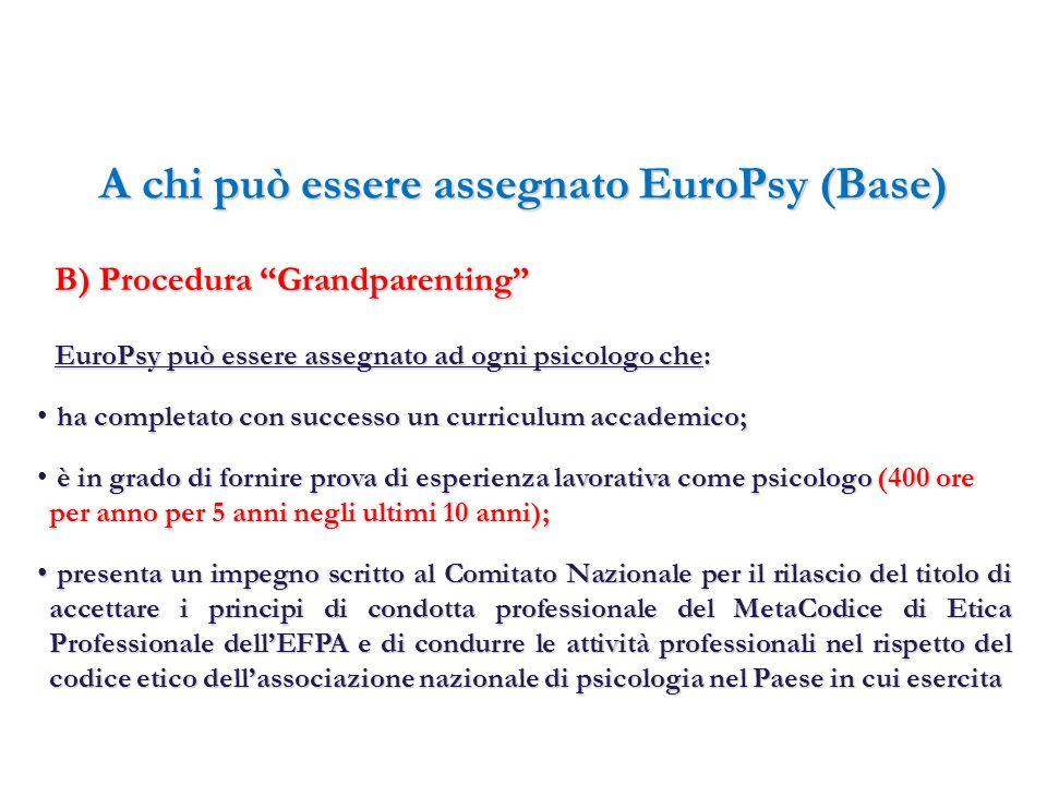 A chi può essere assegnato EuroPsy (Base) EuroPsy può essere assegnato ad ogni psicologo che: B) Procedura Grandparenting B) Procedura Grandparenting