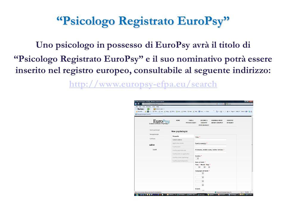 Psicologo Registrato EuroPsy Uno psicologo in possesso di EuroPsy avrà il titolo di Psicologo Registrato EuroPsy e il suo nominativo potrà essere inse