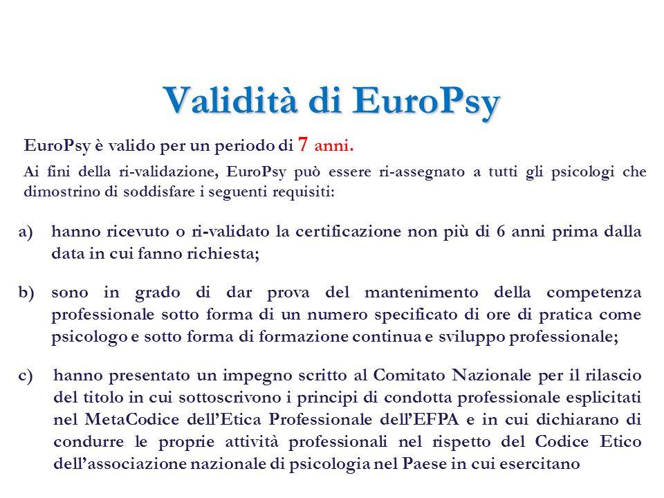 Validità di EuroPsy c) hanno presentato un impegno scritto al Comitato Nazionale per il rilascio del titolo in cui sottoscrivono i principi di condott