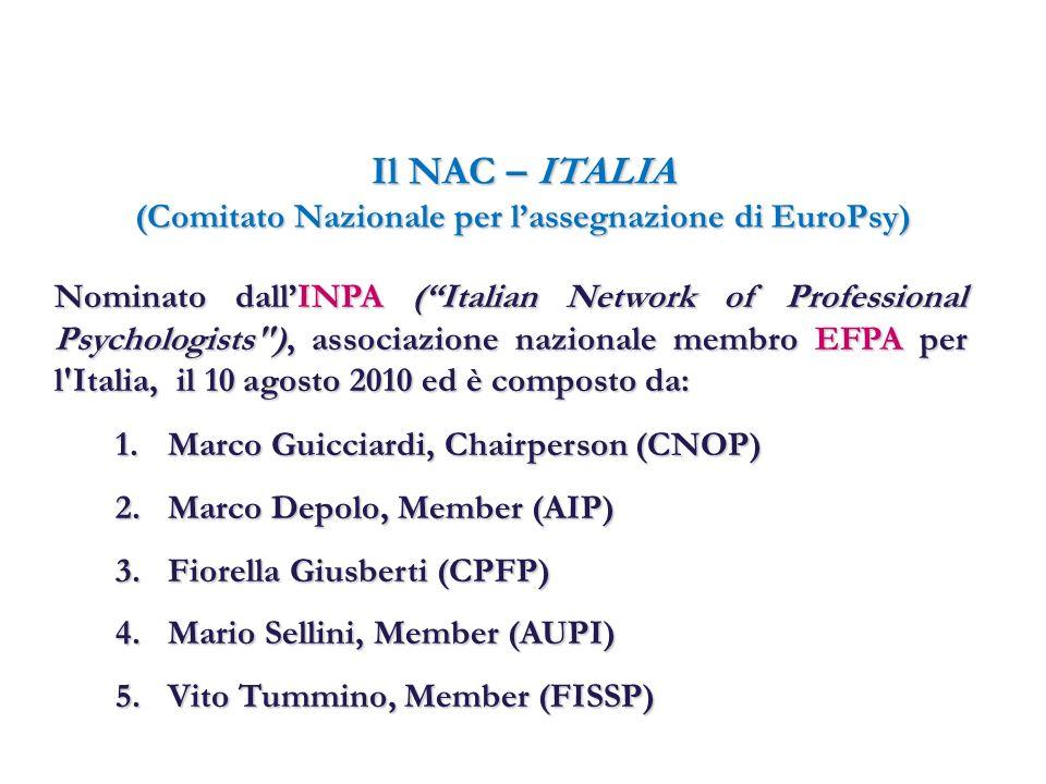 Il NAC – ITALIA (Comitato Nazionale per lassegnazione di EuroPsy) Nominato dallINPA (Italian Network of Professional Psychologists