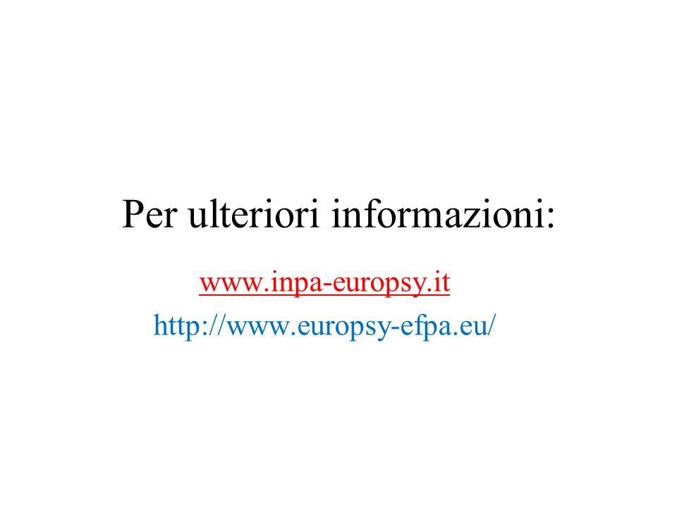Per ulteriori informazioni: www.inpa-europsy.it http://www.europsy-efpa.eu/