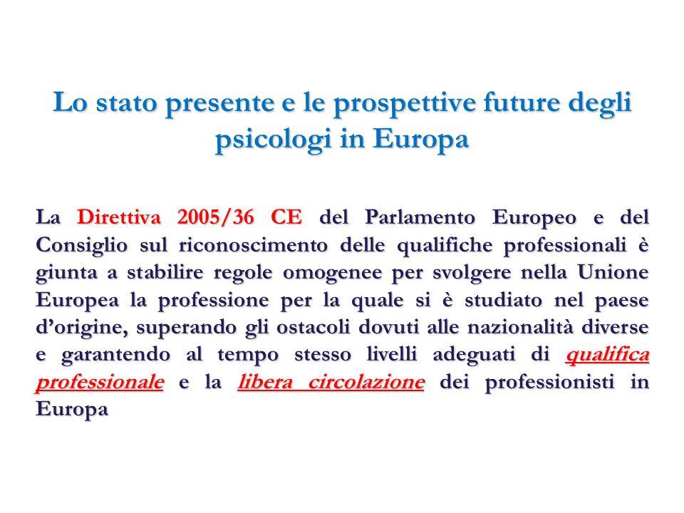 Lo stato presente e le prospettive future degli psicologi in Europa Alcuni contenuti della D.E.