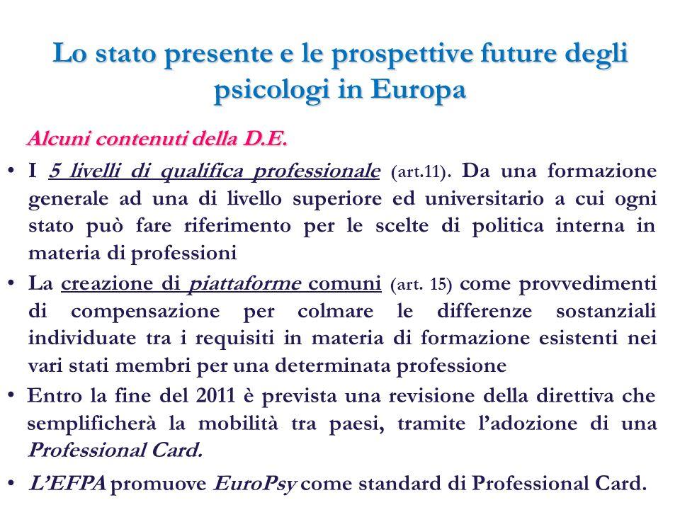Lo stato presente e le prospettive future degli psicologi in Europa Alcuni contenuti della D.E. I 5 livelli di qualifica professionale (art.11). Da un