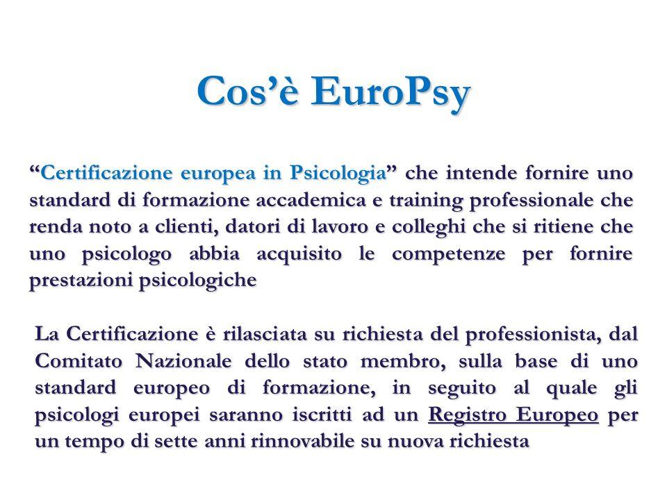 Cosè EuroPsy Certificazione europea in Psicologia che intende fornire uno standard di formazione accademica e training professionale che renda noto a