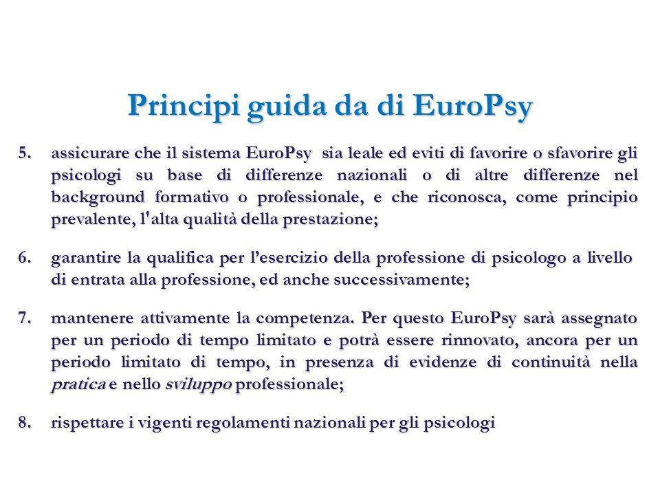 Principi guida da di EuroPsy 5.assicurare che il sistema EuroPsy sia leale ed eviti di favorire o sfavorire gli psicologi su base di differenze nazion