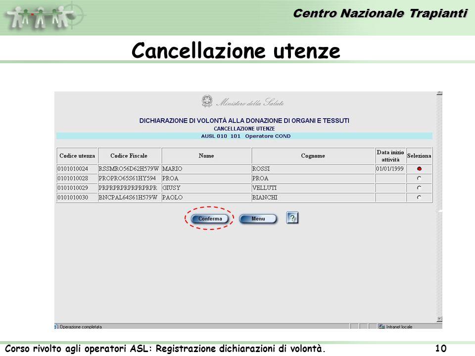 Centro Nazionale Trapianti Corso rivolto agli operatori ASL: Registrazione dichiarazioni di volontà. 10 Cancellazione utenze