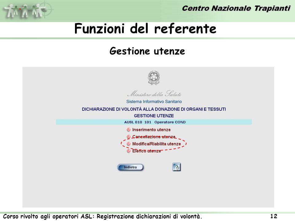 Centro Nazionale Trapianti Corso rivolto agli operatori ASL: Registrazione dichiarazioni di volontà. 12 Gestione utenze Funzioni del referente