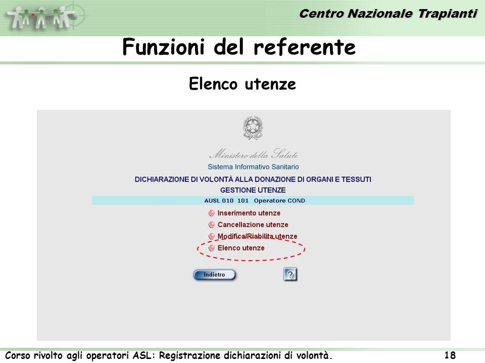 Centro Nazionale Trapianti Corso rivolto agli operatori ASL: Registrazione dichiarazioni di volontà. 18 Elenco utenze Funzioni del referente