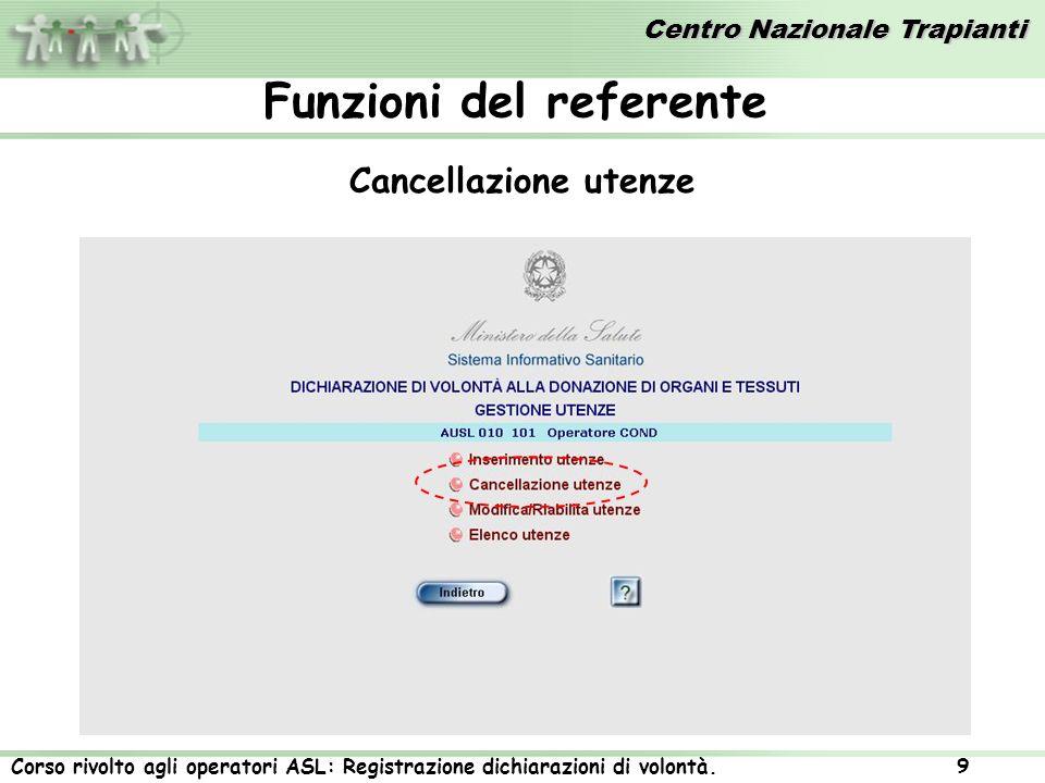 Centro Nazionale Trapianti Corso rivolto agli operatori ASL: Registrazione dichiarazioni di volontà. 9 Cancellazione utenze Funzioni del referente