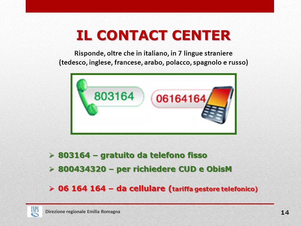 IL CONTACT CENTER 803164 – gratuito da telefono fisso 803164 – gratuito da telefono fisso 800434320 – per richiedere CUD e ObisM 800434320 – per richi