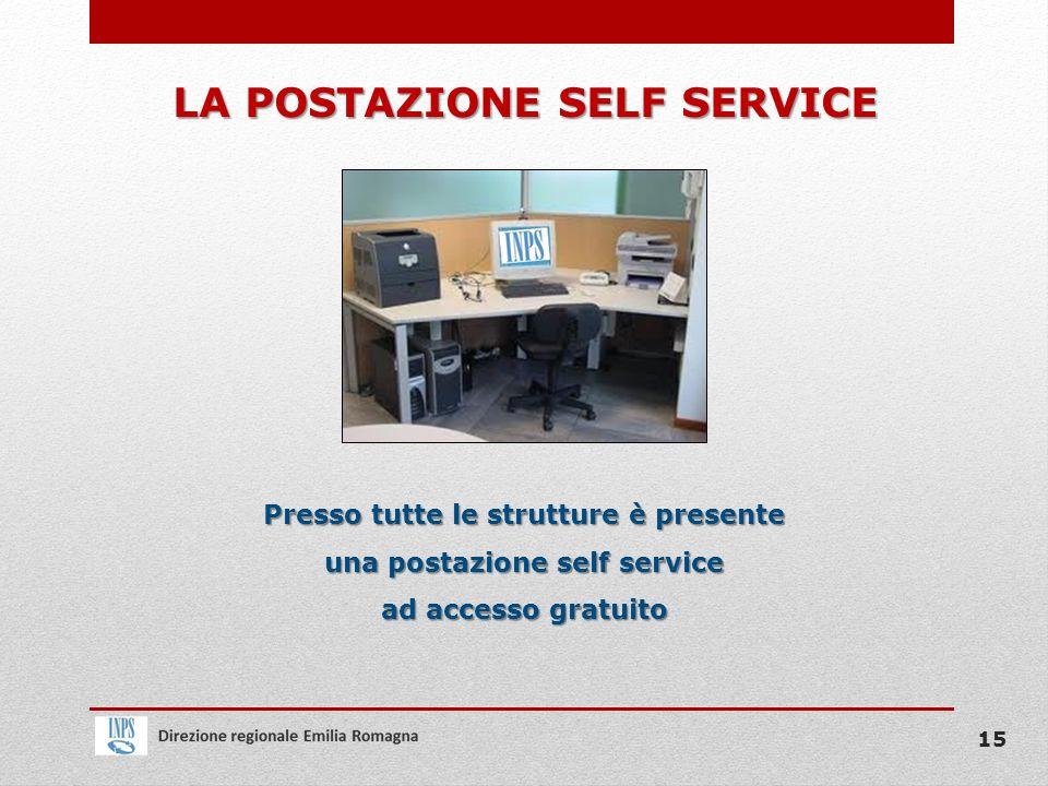 LA POSTAZIONE SELF SERVICE Presso tutte le strutture è presente una postazione self service ad accesso gratuito 15