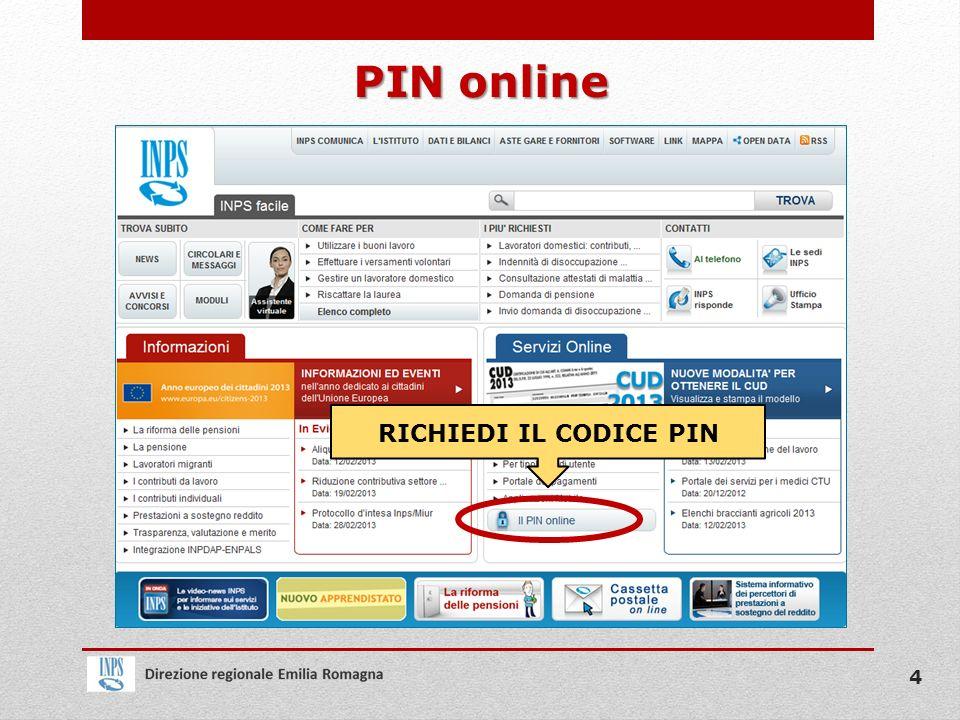 PIN online RICHIEDI IL CODICE PIN 4