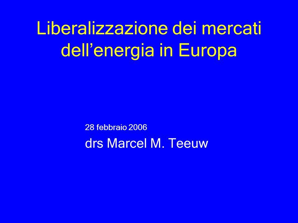 Liberalizzazione dei mercati dellenergia in Europa 28 febbraio 2006 drs Marcel M. Teeuw