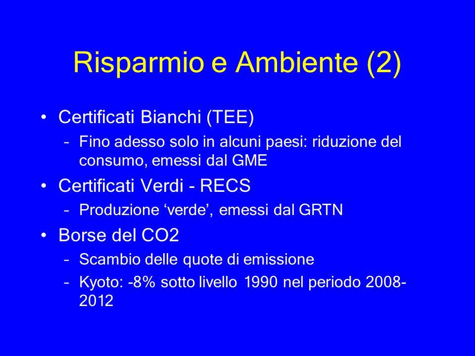 Risparmio e Ambiente (2) Certificati Bianchi (TEE) –Fino adesso solo in alcuni paesi: riduzione del consumo, emessi dal GME Certificati Verdi - RECS –