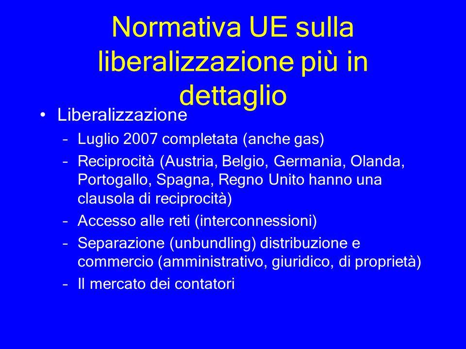 Normativa UE sulla liberalizzazione più in dettaglio Liberalizzazione –Luglio 2007 completata (anche gas) –Reciprocità (Austria, Belgio, Germania, Ola