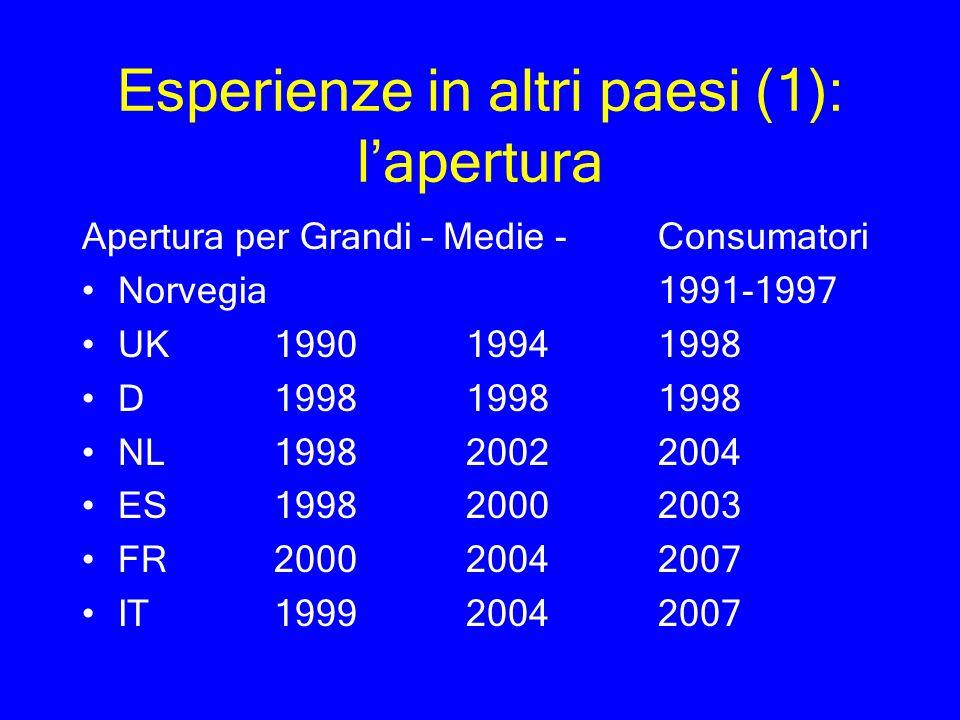 Esperienze in altri paesi (1): lapertura Apertura per Grandi – Medie - Consumatori Norvegia1991-1997 UK199019941998 D199819981998 NL 199820022004 ES19