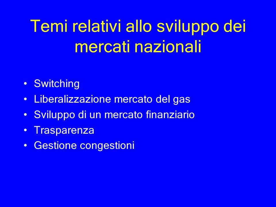 Temi relativi allo sviluppo dei mercati nazionali Switching Liberalizzazione mercato del gas Sviluppo di un mercato finanziario Trasparenza Gestione c