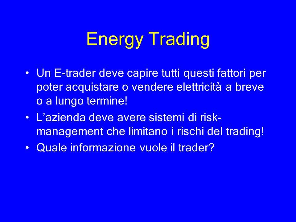 Energy Trading Un E-trader deve capire tutti questi fattori per poter acquistare o vendere elettricità a breve o a lungo termine! Lazienda deve avere