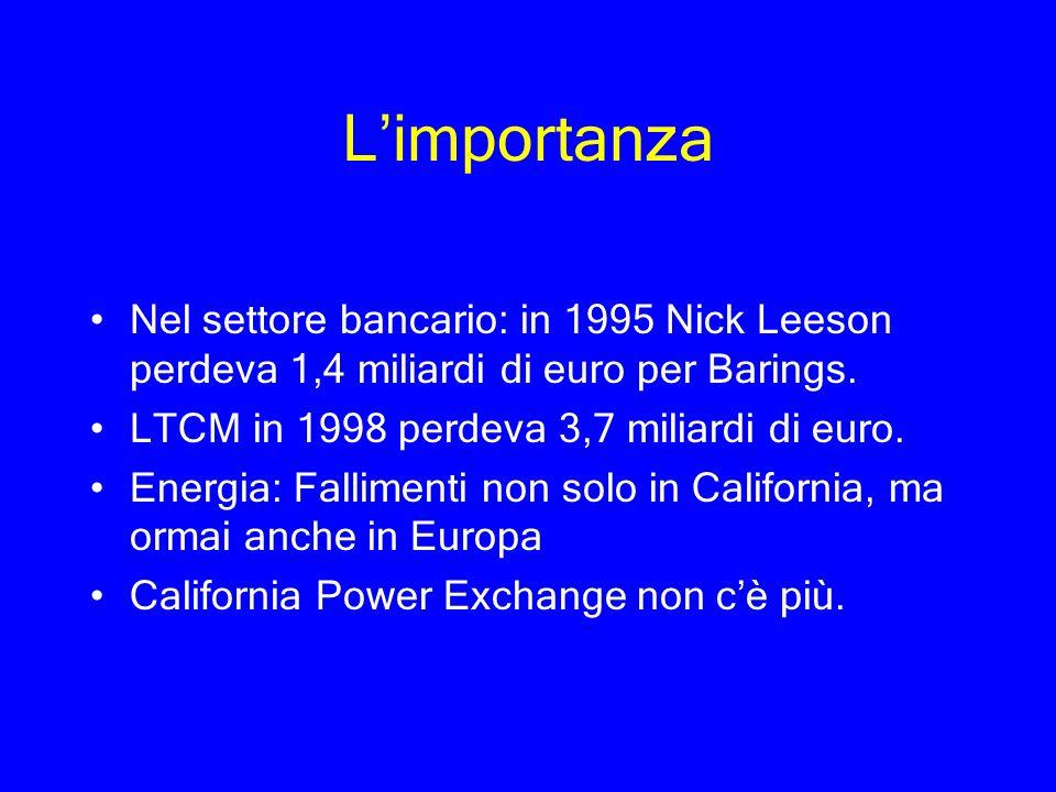 Limportanza Nel settore bancario: in 1995 Nick Leeson perdeva 1,4 miliardi di euro per Barings. LTCM in 1998 perdeva 3,7 miliardi di euro. Energia: Fa