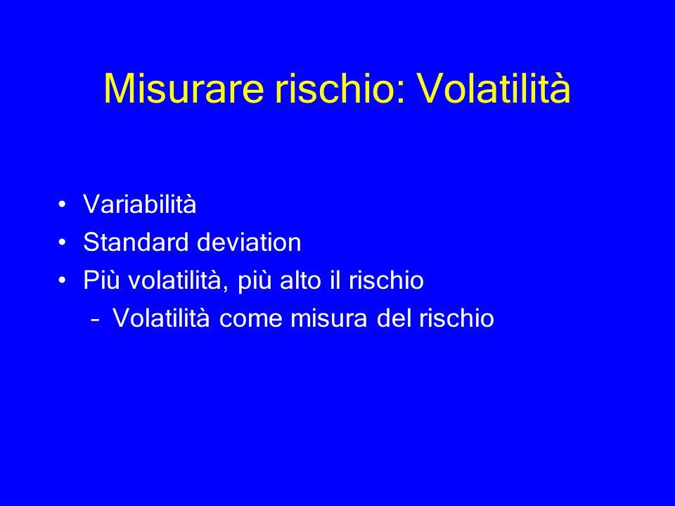 Misurare rischio: Volatilità Variabilità Standard deviation Più volatilità, più alto il rischio –Volatilità come misura del rischio