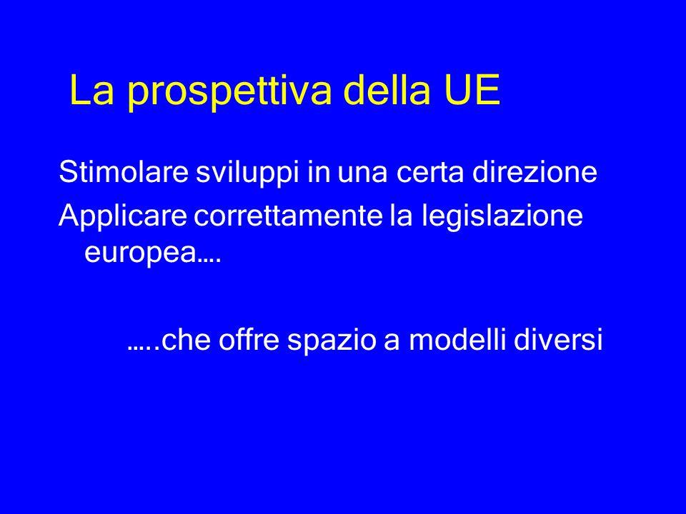 La prospettiva della UE Stimolare sviluppi in una certa direzione Applicare correttamente la legislazione europea…. …..che offre spazio a modelli dive