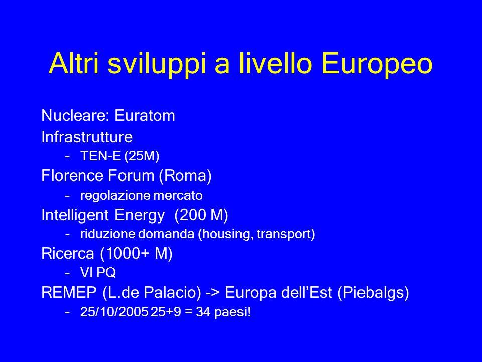 Altri sviluppi a livello Europeo Nucleare: Euratom Infrastrutture –TEN-E (25M) Florence Forum (Roma) –regolazione mercato Intelligent Energy (200 M) -