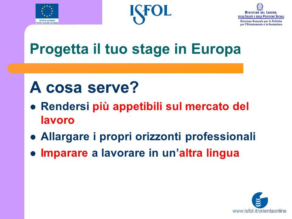 www.isfol.it/orientaonline Progetta il tuo stage in Europa A cosa serve? Rendersi più appetibili sul mercato del lavoro Allargare i propri orizzonti p