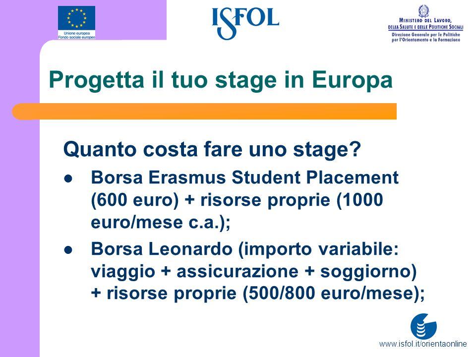 www.isfol.it/orientaonline Progetta il tuo stage in Europa Quanto costa fare uno stage? Borsa Erasmus Student Placement (600 euro) + risorse proprie (