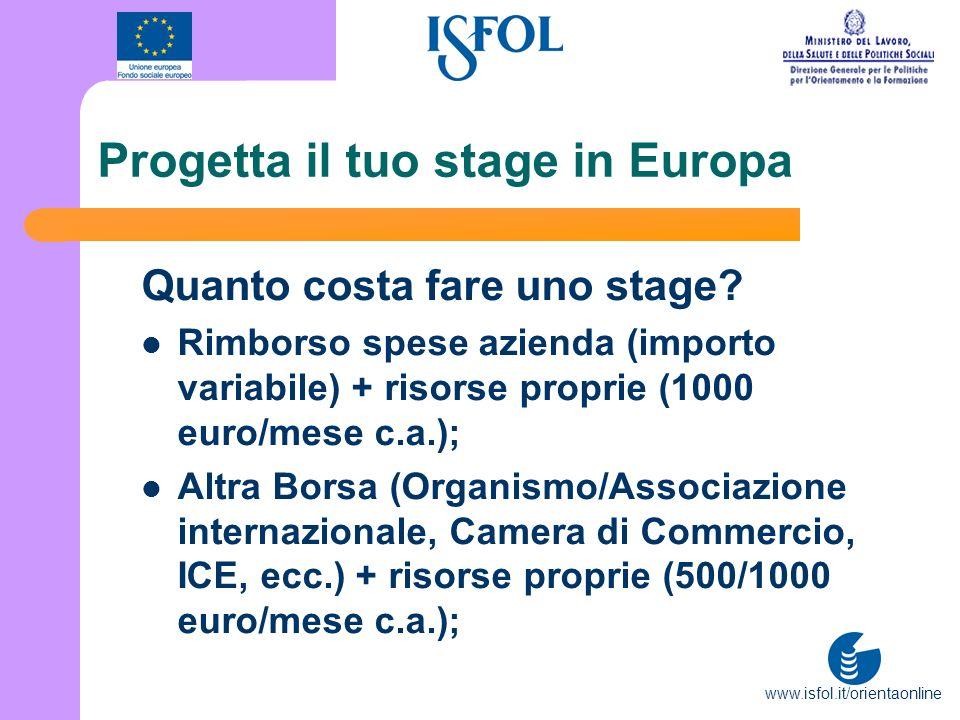 www.isfol.it/orientaonline Progetta il tuo stage in Europa Quanto costa fare uno stage? Rimborso spese azienda (importo variabile) + risorse proprie (