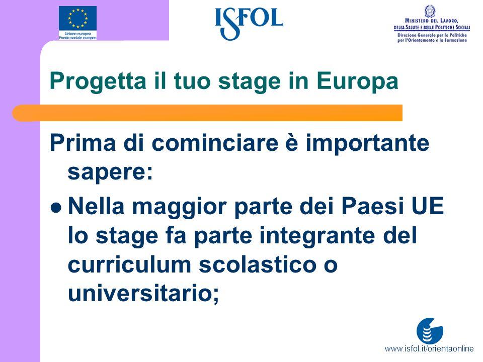 www.isfol.it/orientaonline Progetta il tuo stage in Europa Prima di cominciare è importante sapere: Nella maggior parte dei Paesi UE lo stage fa parte