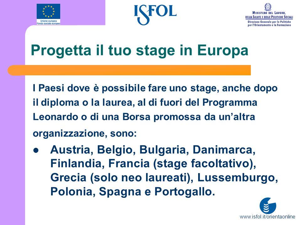 www.isfol.it/orientaonline Progetta il tuo stage in Europa I Paesi dove è possibile fare uno stage, anche dopo il diploma o la laurea, al di fuori del
